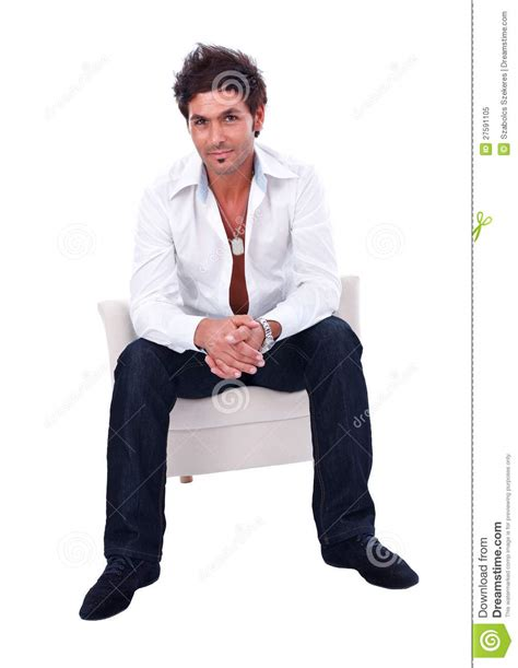 Sitting In Armchair Handsome Sitting In Armchair Royalty Free Stock Photo