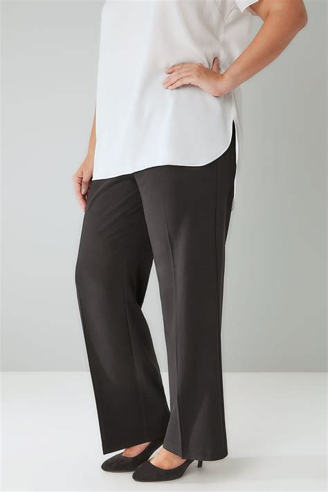 my keeps attacking my other for no reason black classic leg trousers with elasticated waistband plus size 16 to 36