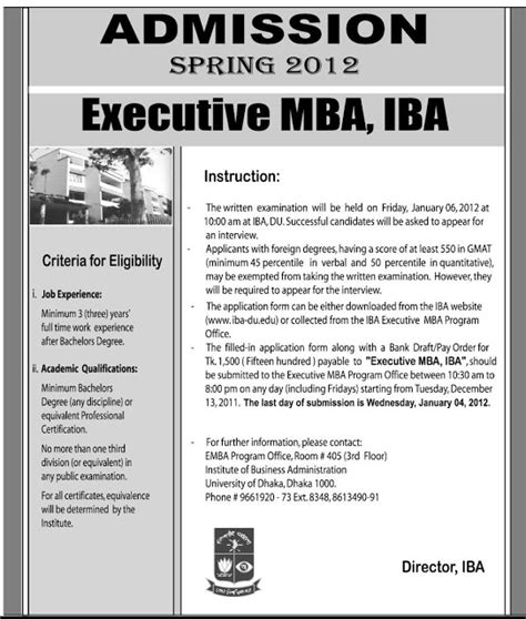 Executive Mba Pune Admission by Bangladesh Iba Executive Mba Admission 2012
