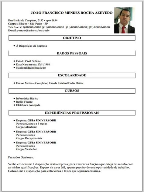 Modelo Curriculum Vitae 2017 86 Modelo De Curriculum Vitae Pronto Para Preencher Bom Modelo De Curriculum Vitae Pronto