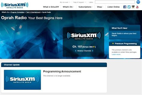 oprah winfrey xm radio oprah winfrey s siriusxm channel goes off the air ny