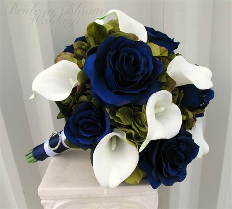 Wedding Bouquet Navy Blue by Wedding Bouquet Navy Blue Roses Green White Calla