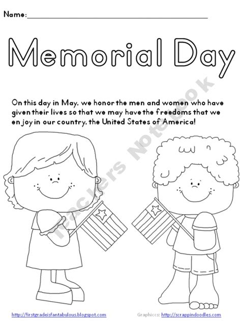 memorial day coloring page freebie free prek 2nd