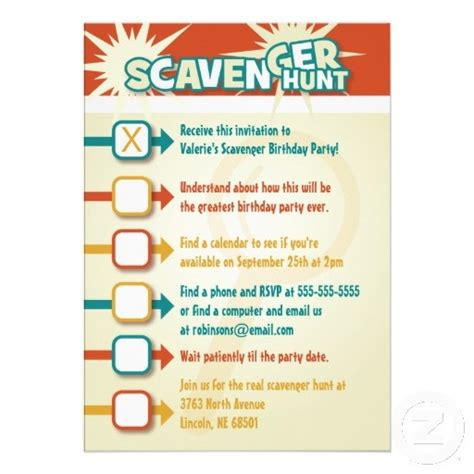 scavenger hunt invitation ideas