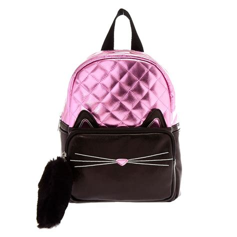 Cat Black Pink black and pink metallic cat mini backpack s ca