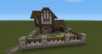 How To Build A Gambrel Roof minecraft medieval barn front of the house with garden