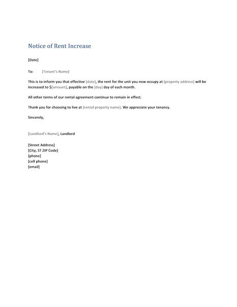 coverletterexamples us part 30 rent increase sample letter