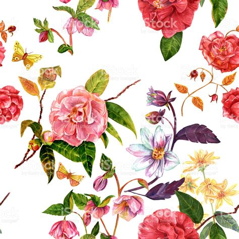 flower pattern painting vintage seamless background pattern with watercolor