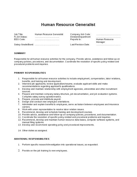human resource generalist job description hashdoc
