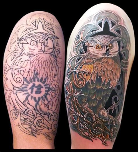 animal cover up tattoo aaron goolsby tattoos nature animal bird owl in an