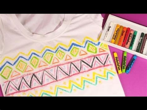 how to get crayon out of upholstery diy aztec print shirt using fabric crayon youtube