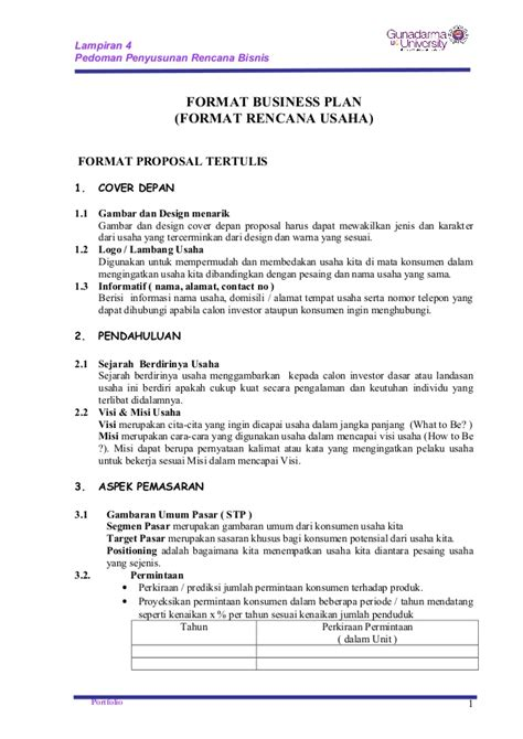 contoh format proposal business plan format business plan