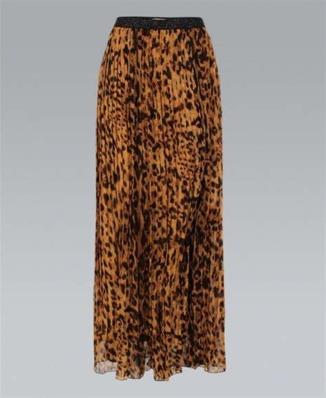 misskrisp pleated chiffon animal print brown maxi skirt