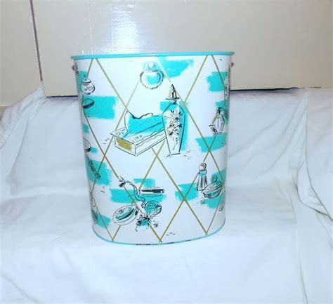 Turquoise Bathroom Trash Can Metals Vintage Metal And Baskets On
