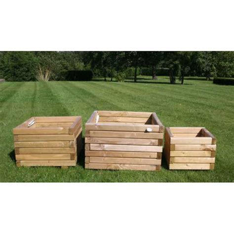 m m timber set of 3 square wooden planters