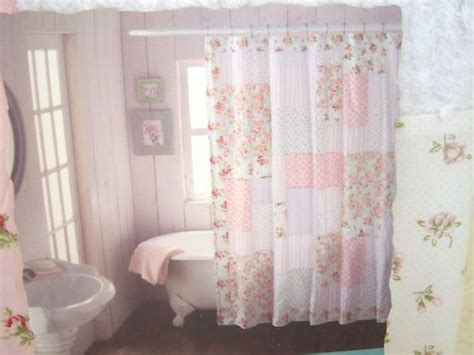 shabby chic bathroom curtains shabby n chic cottage chenille pink roses rosebuds patchwork shower