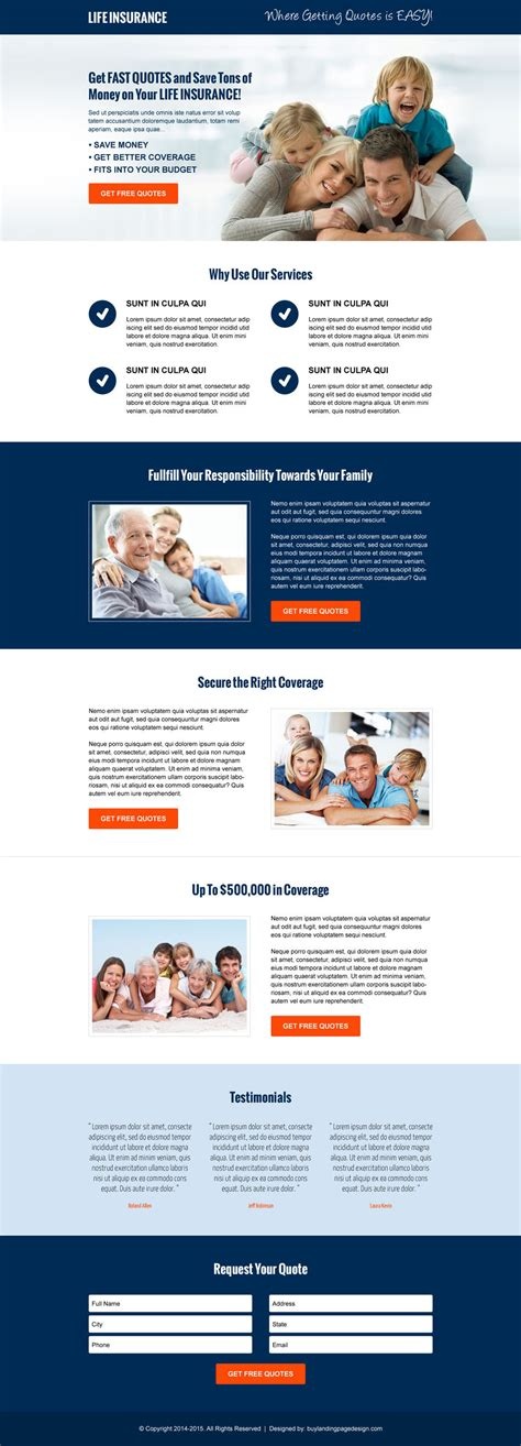 layout landing page life insurance landing pages to boost your life insurance