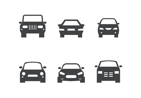 front car system black car front silhouettes free vector