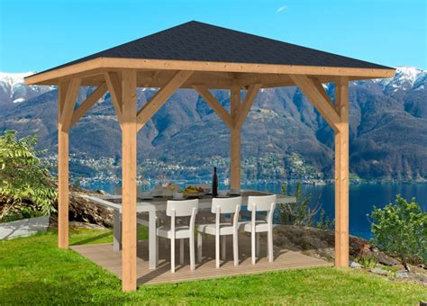 holz pavillon 3x3 kos larch timber gazebo 3 4x3 4m