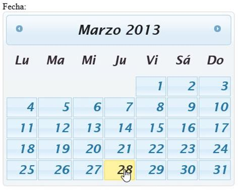 Manuel J Calendario Jquery Ui Datepicker Manual De Uso Simple
