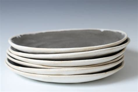 Handmade Ceramic Plates And Bowls - 9 charcoal and white stoneware shallow bowls plates 9