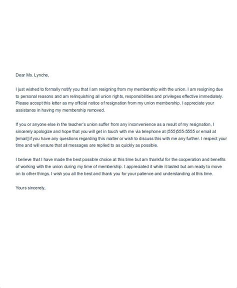 Sle Union Resignation Letter by Membership Resignation Letters 6 Free Sle Exle Format Free Premium Templates