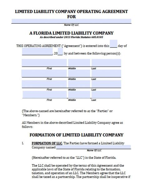 florida llc operating agreement sle florida member llc operating agreement free llc