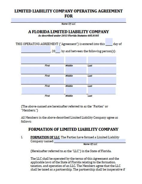 florida llc operating agreement sle florida member llc operating agreement free llc