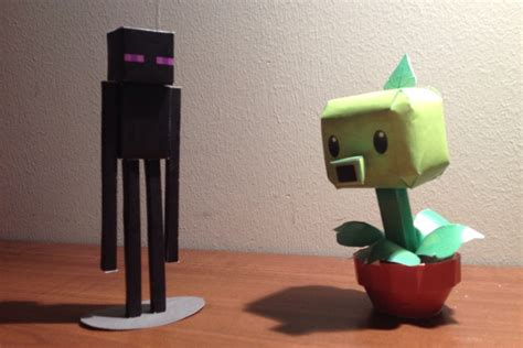 Minecraft 3d Papercraft - 3d papercraft minecraft enderman pvz pea shooter diy