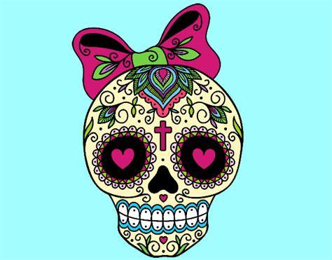imagenes de calaveras ya coloreadas dibujo de calavera mejicana con lazo pintado por ani2002