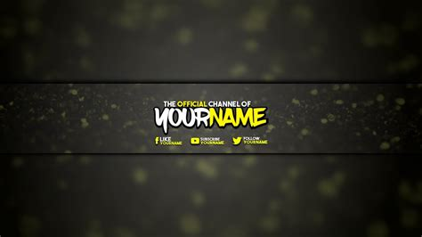 cool clean yellow youtube banner