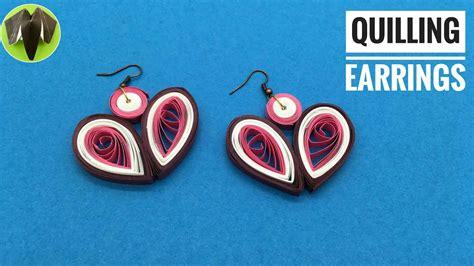 quilling earrings tutorial youtube quilling heart earrings design 9 diy tutorial by paper