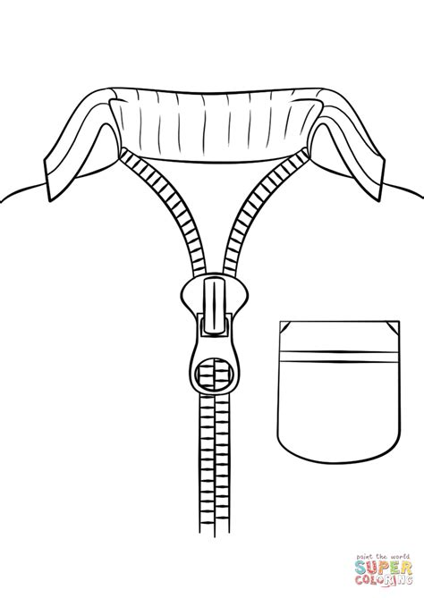 Coloring Page Zipper by Sweater With Zipper Coloring Page Free Printable