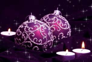 purple christmas balls and candles purple picture