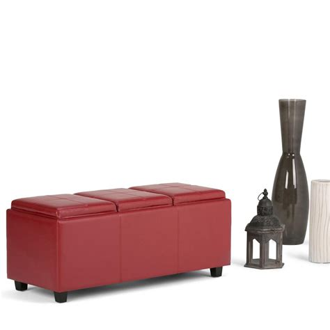 storage bench red simpli home avalon red storage bench 3axcava ottbnch 02 rd the home depot