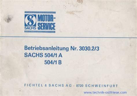Sachs Motor Betriebsanleitung by Sachs 504 1 Teilelisten Reparaturanleitungen