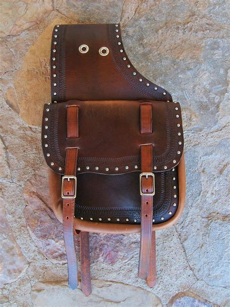 Handmade Leather Saddlebags - custom western leather saddlebags with two straps