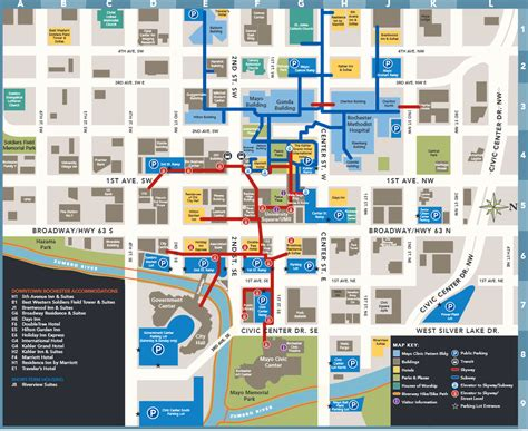 maps clinic skyway and subway map of rochester minnesota around rochester minnesota