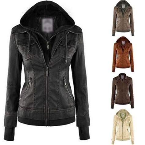 Blouse Parka fashion winter pu leather hooded lapel zip pockets top blouse jacket coat ebay