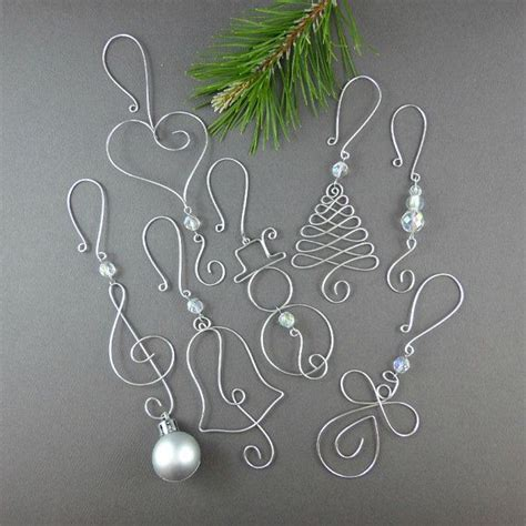 five beaded christmas ornament hooks wire ornament
