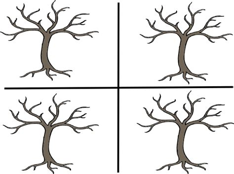 coloring pages trees four seasons 4 seasons black and white clipart