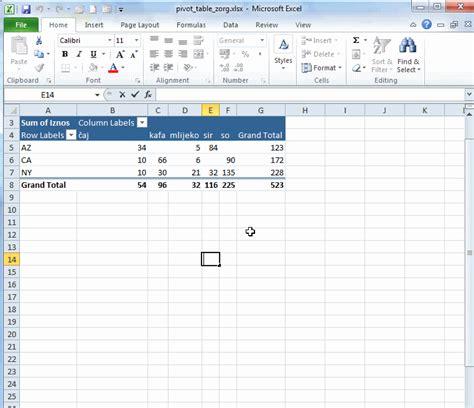 excel 2010 tutorial na srpskom abc microsoft excel 2010 pivot tabela pivot table