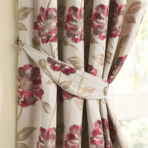 xtend pattern matching downton floral jacquard curtain tiebacks pair red