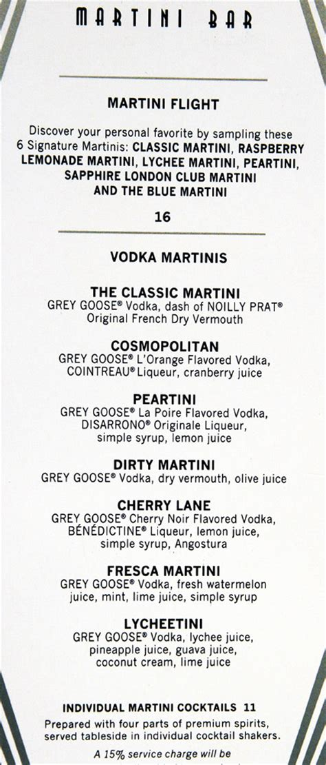 martini bar menu celebrities for celebrity cruise drink menu martini www