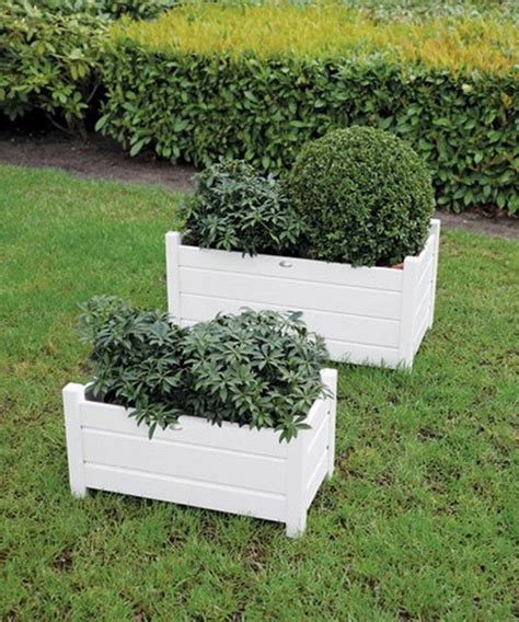 White Wooden Planter by Set Of Two White Wooden Rectangle Planters By Garden