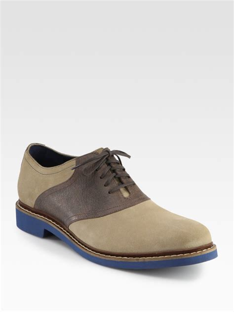 cole haan shoes cole haan air harrison saddle shoe in beige for lyst