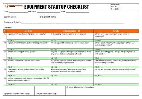 Equipment Operation Startup Checklist Machine Checklist Template