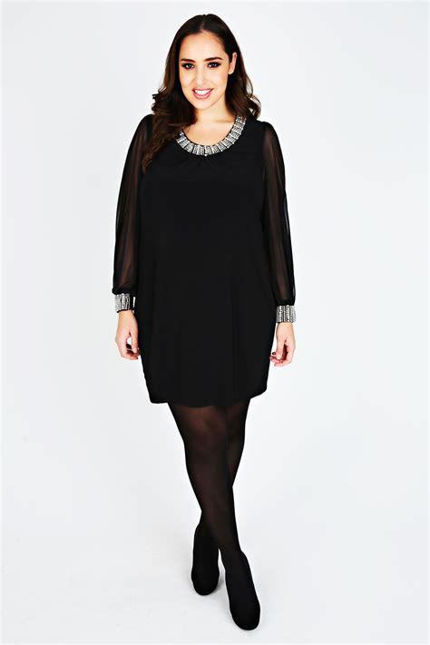 Sleeved Black black chiffon sleeved dress with silver bead embellishment