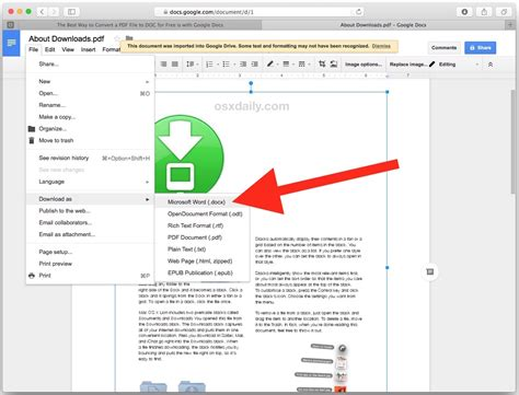 convert pdf to word with google docs 4 ways to convert pdf to word docx in mac os