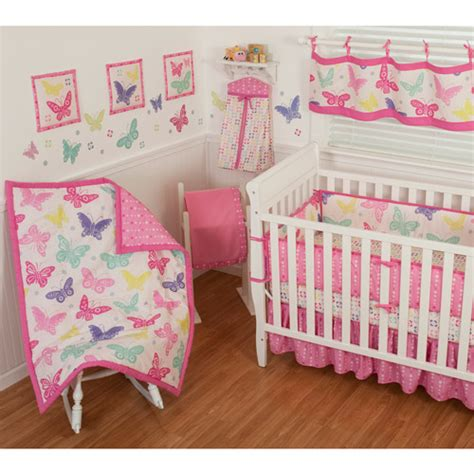 Butterfly Crib Bedding Set Sumersault Butterfly Block 10 Nursery In A Bag Crib Bedding Set Walmart